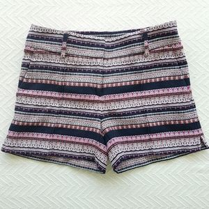 LOFT shorts embroidered boho pink and blue.Size 00